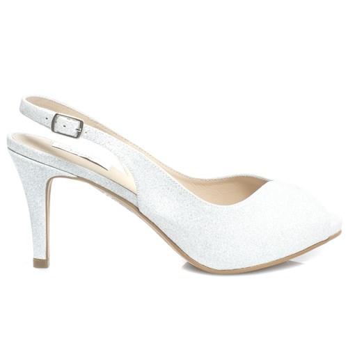 Peep toe Chanel Noiva Gliter Branco Salto Médio - 62218