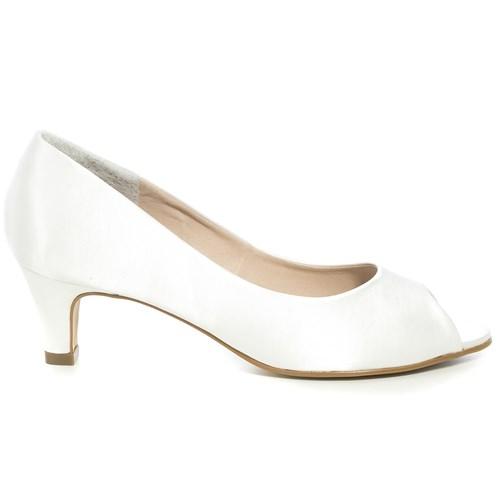 Peep toe Noiva Cetim New White Salto Baixo - 59010