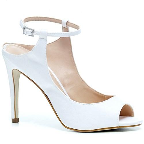 Peep toe Noiva Fashion Velvet Branco Salto Alto - DU7845