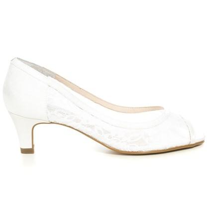 Peep Toe Noiva Renda Branca Salto Baixo - 59043