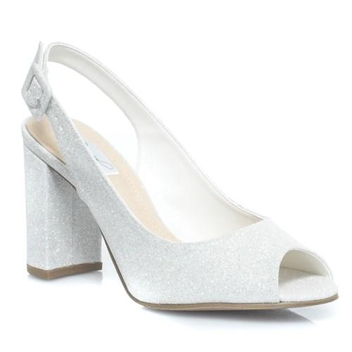 Sandália Chanel Noiva Gliter Branco Salto Confortável - 95048
