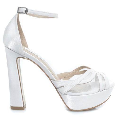 Sandália Noiva Salto alto Plataforma Branco - WV9825