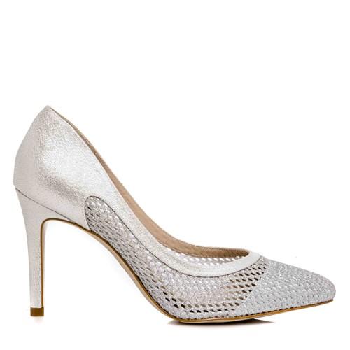 Sapato Feminino Festa Tela Gliter Prata - SE4986