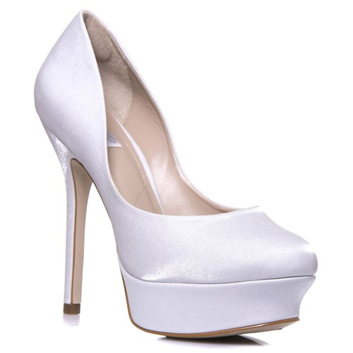 Sapato Feminino Noiva Salto Alto Plataforma Cetim  - MF1331