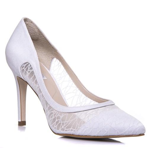 Sapato Feminino Noiva Salto Alto Tela Gliter Branco - SE4986