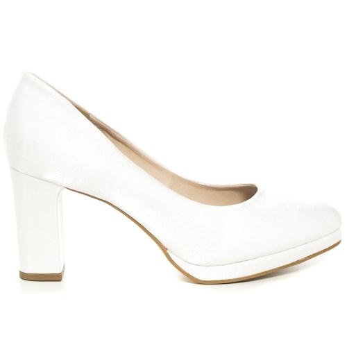 Sapato Noiva Branco Plataforma Salto Médio - 68030