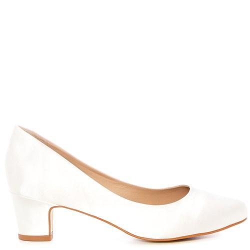 Sapato Noiva Cetim New White Salto Baixo Confortável - WD1199