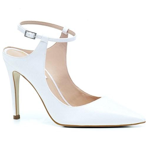 Scarpin Bico Fino Noiva Velvet Branco - DU9494